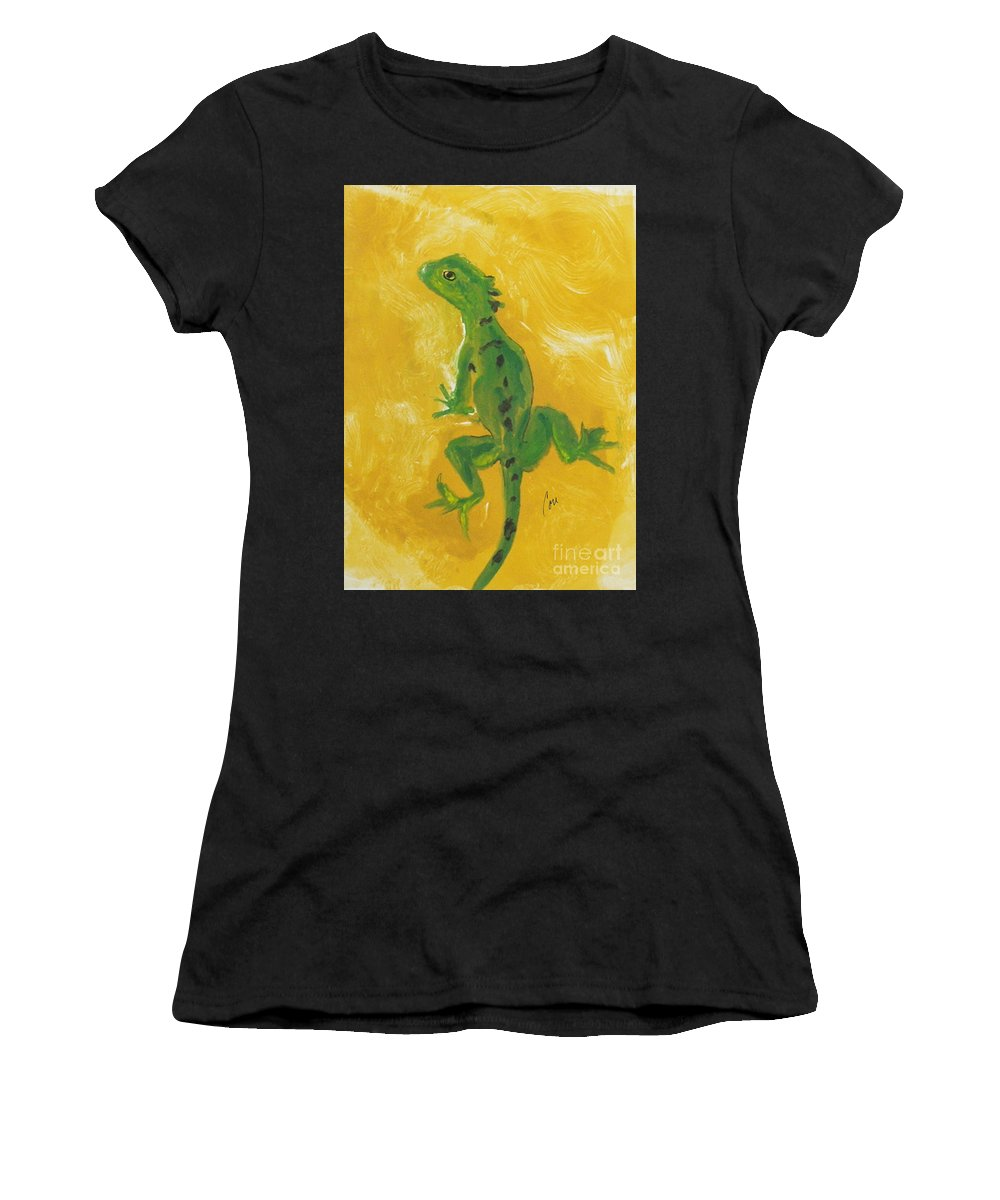 Lizard Women's T-Shirt (Athletic Fit) featuring the mixed media Take Five by Cori Solomon