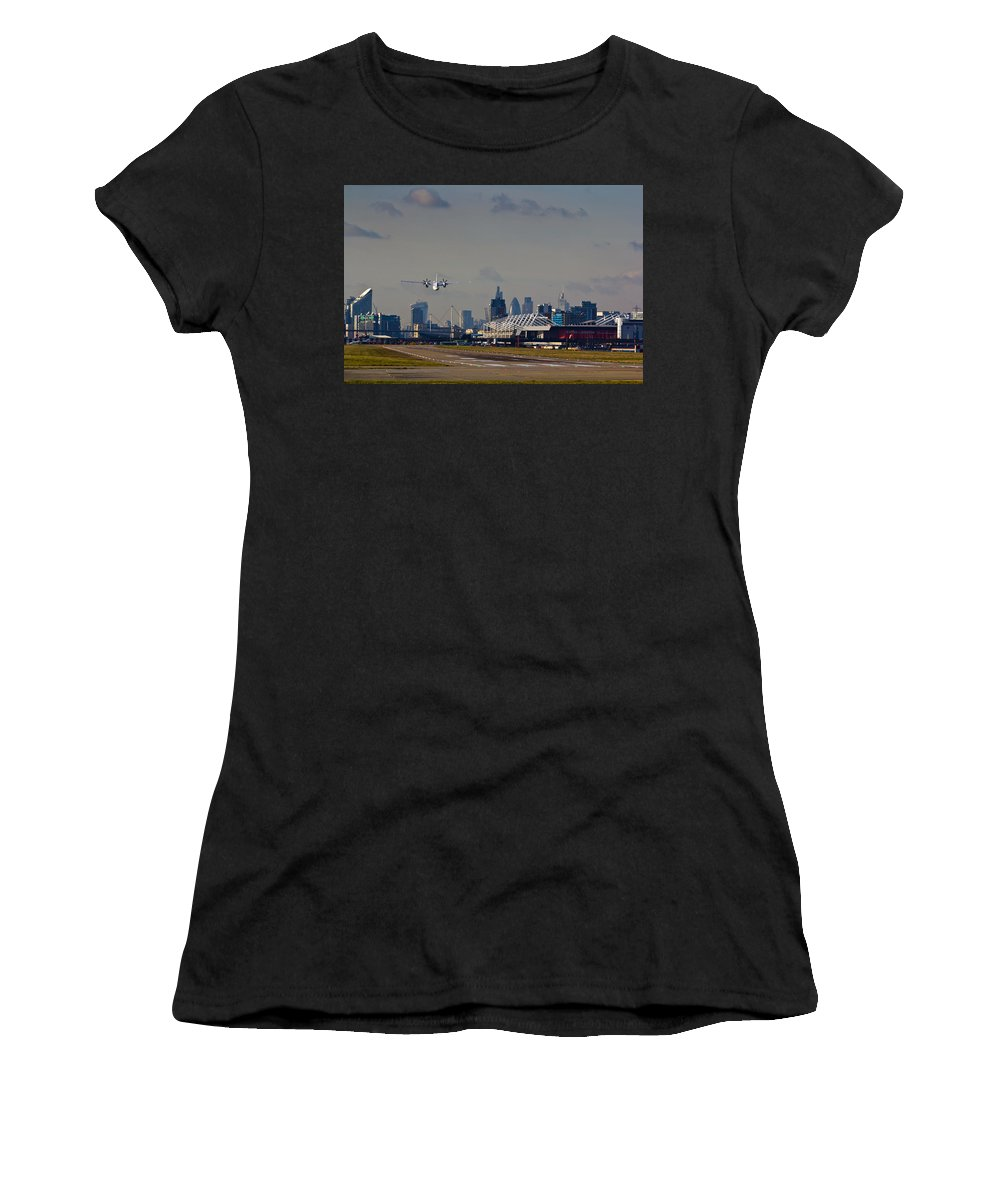 Cityjet Women's T-Shirt (Athletic Fit) featuring the photograph Take Off From London by David Pyatt
