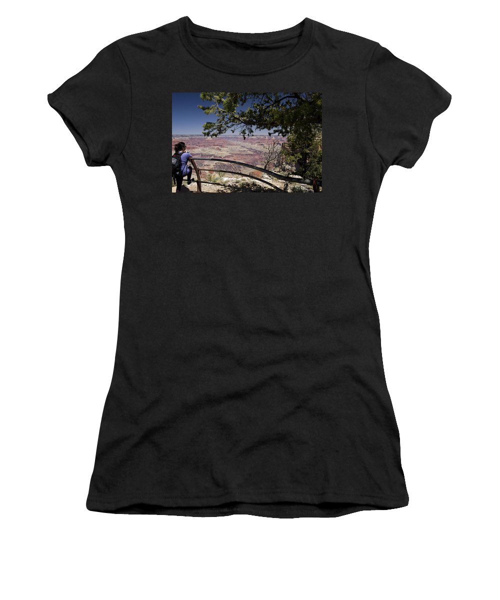 Grand Canyon Women's T-Shirt (Athletic Fit) featuring the photograph Taking In The Grand View by Peter Lloyd