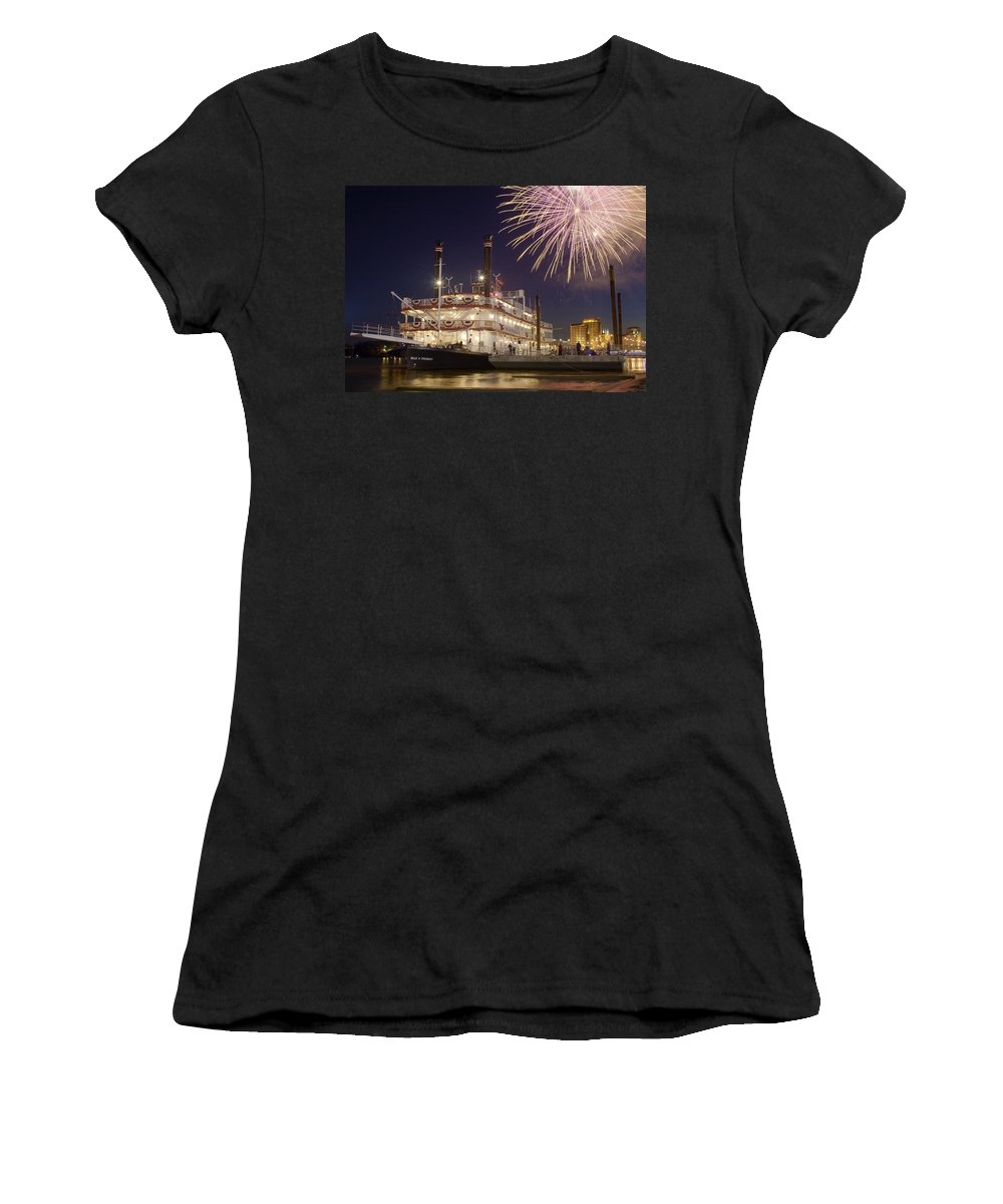 Cincinnati Women's T-Shirt (Athletic Fit) featuring the photograph Tall Stacks by Scott Meyer