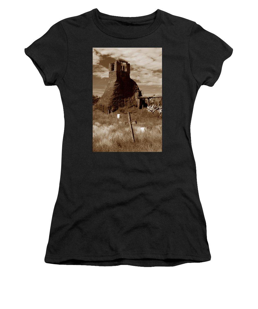 Taos Pueblo Women's T-Shirt (Athletic Fit) featuring the photograph Taos Pueblo Graveyard by Michael Kirk