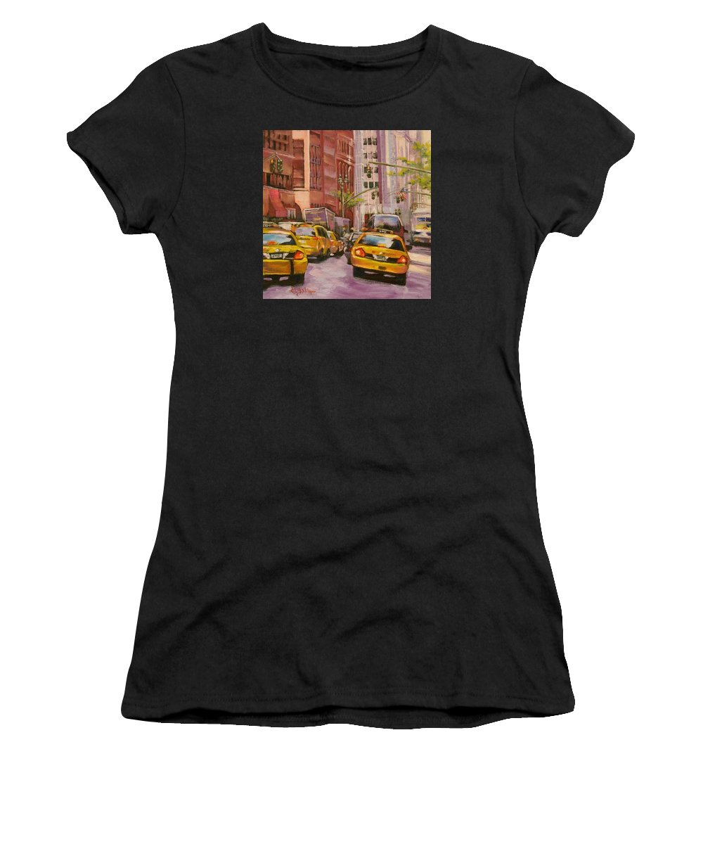 New York City Women's T-Shirt (Athletic Fit) featuring the painting Taxi Taxi by Gloria Nilsson