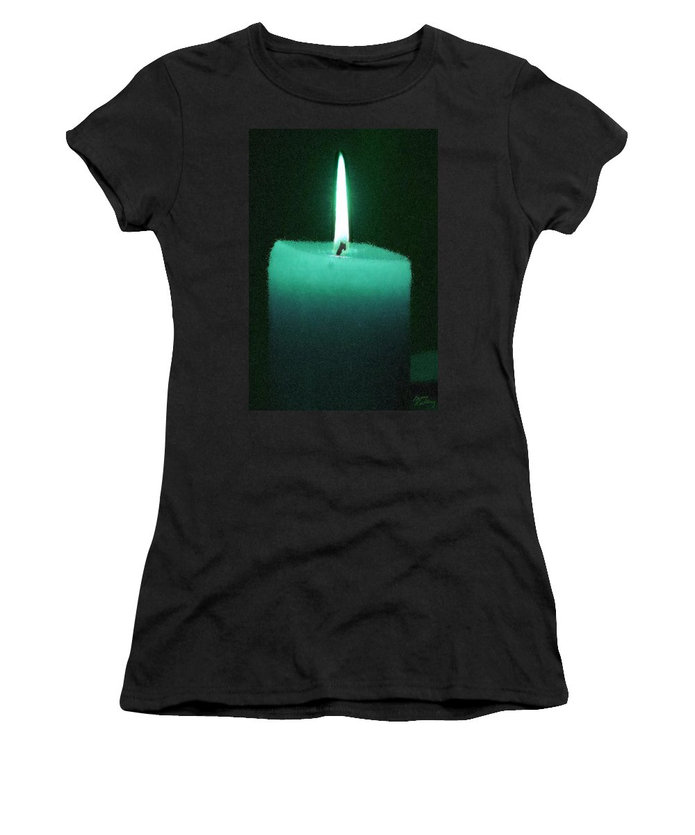 Teal Women's T-Shirt featuring the painting Teal Lit Candle by Bruce Nutting