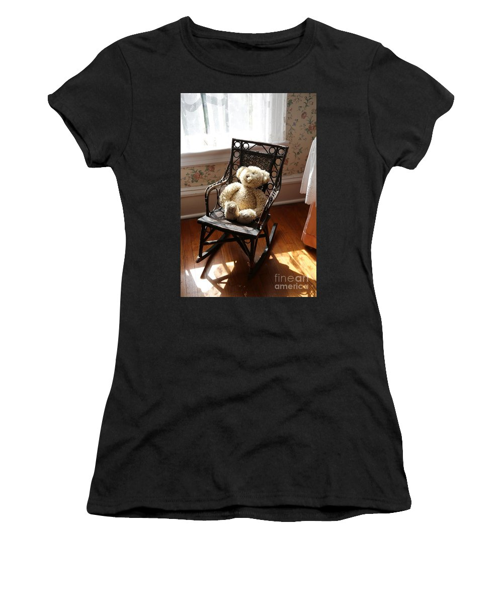 Teddy Bear Women's T-Shirt (Athletic Fit) featuring the photograph Teddy In Old Fashioned Rocker by Carol Groenen