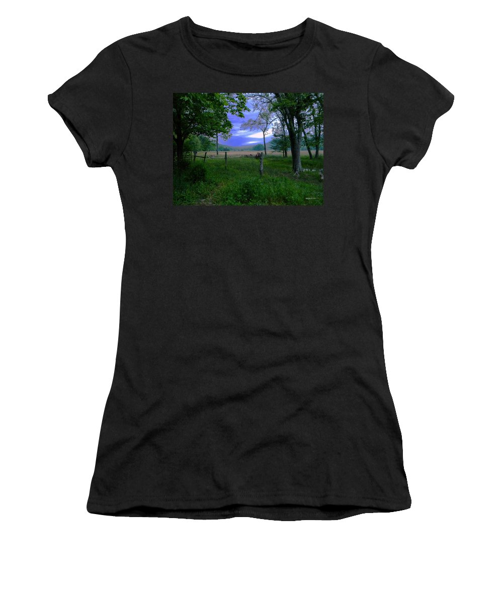 Calm Women's T-Shirt (Athletic Fit) featuring the painting Tendar Morning by Roe Rader