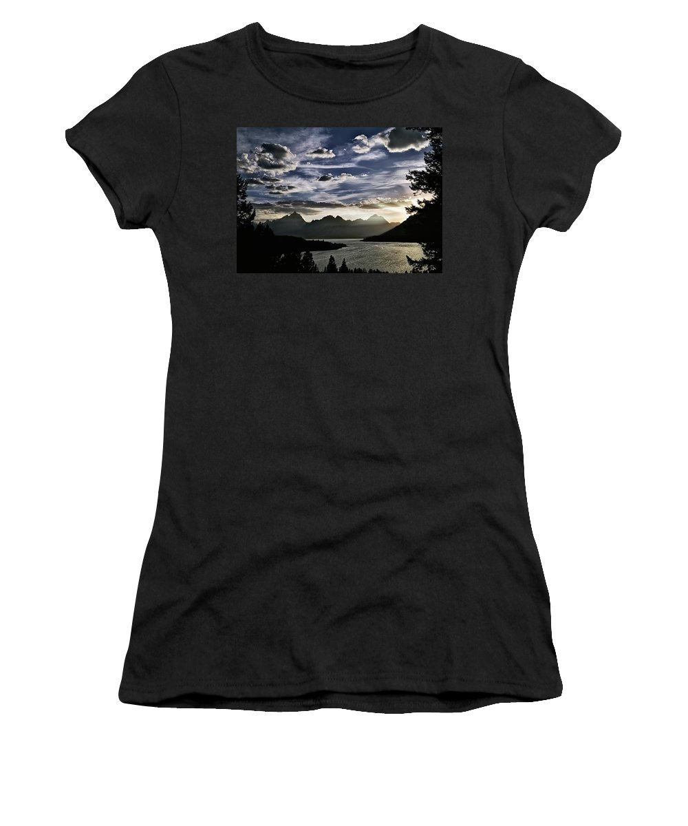 Wyoming Women's T-Shirt (Athletic Fit) featuring the photograph Teton Range Sunset by Leland D Howard