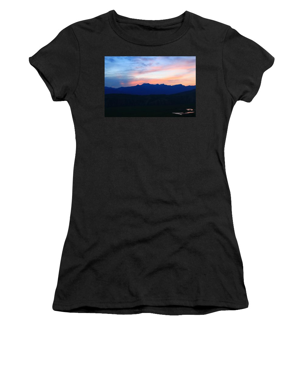 Sunset Women's T-Shirt featuring the photograph Teton Sunset by Catie Canetti
