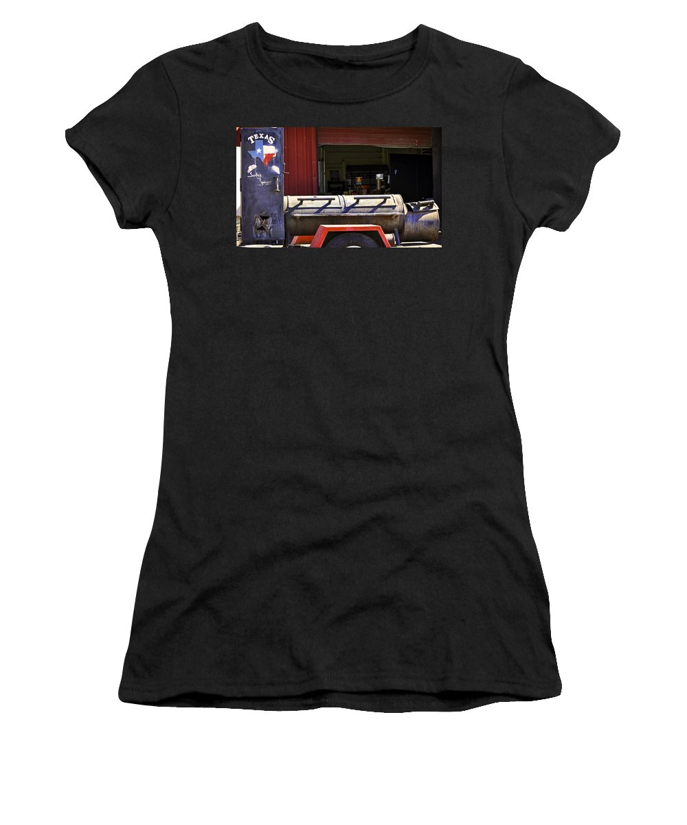 Sauvie Island Women's T-Shirt (Athletic Fit) featuring the photograph Texas Smoker by Image Takers Photography LLC - Carol Haddon