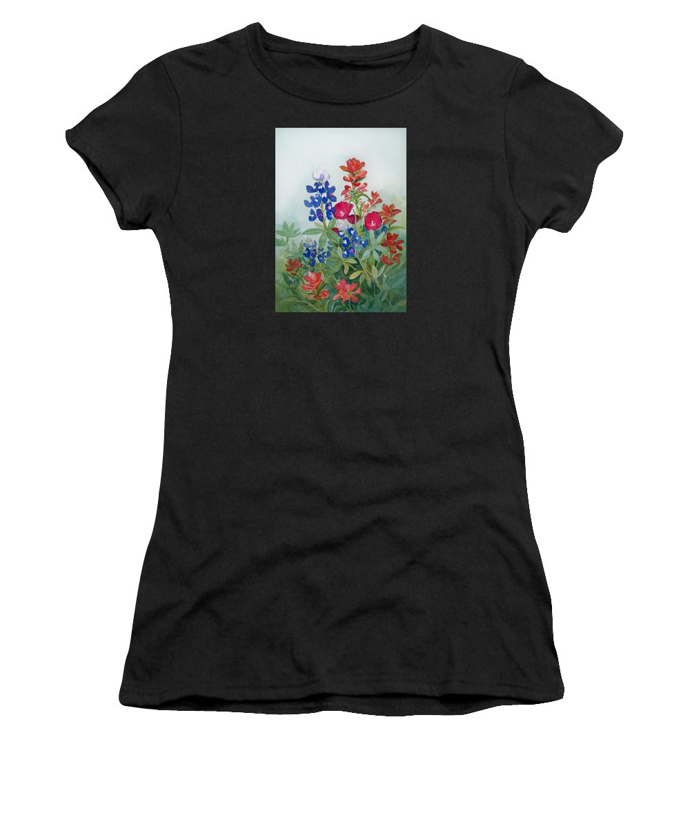 Bluebonnets Women's T-Shirt featuring the painting Texas Wildflowers by Sue Kemp