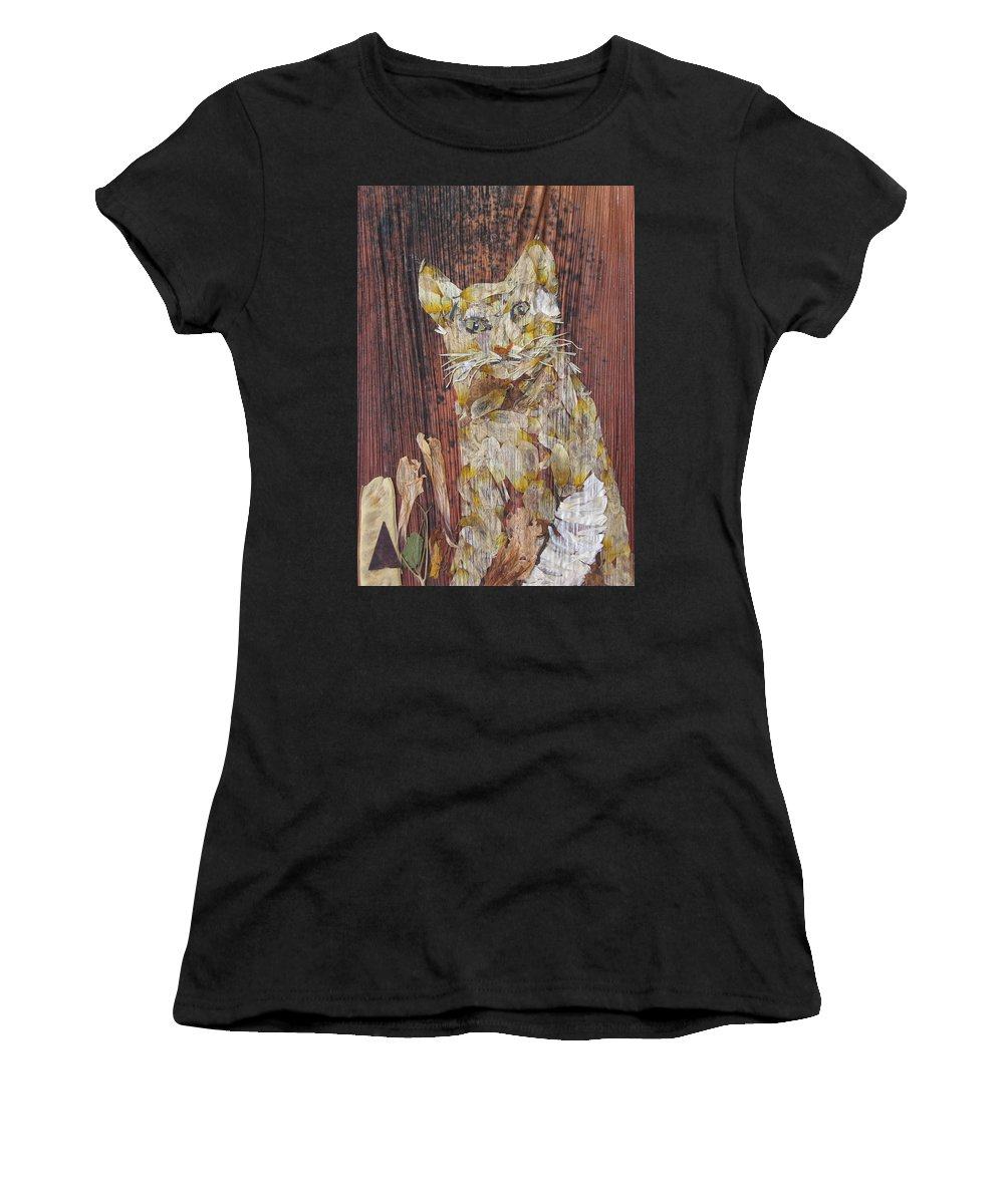 Cat.bandage On One Leg Women's T-Shirt (Athletic Fit) featuring the mixed media Thanks From Eyes For Bandage On Broken Leg. by Basant Soni