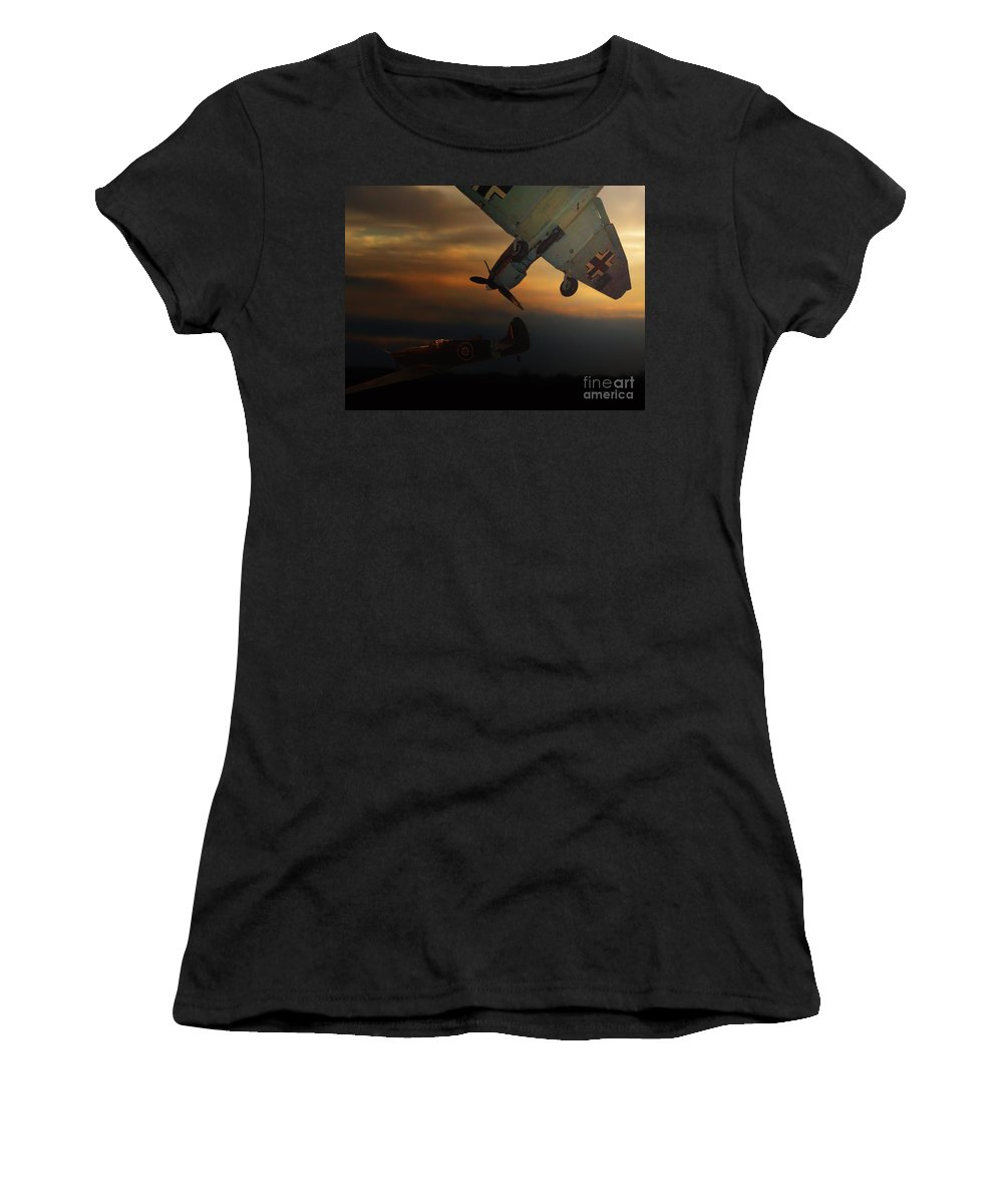 Transportation Women's T-Shirt (Athletic Fit) featuring the photograph The Air Battle Of Britain by Thomas Woolworth