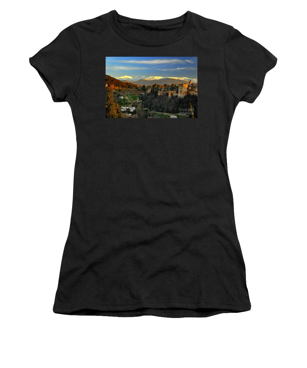 The Alhambra Women's T-Shirt featuring the photograph The Alhambra Palace Granada Spain by Guido Montanes Castillo
