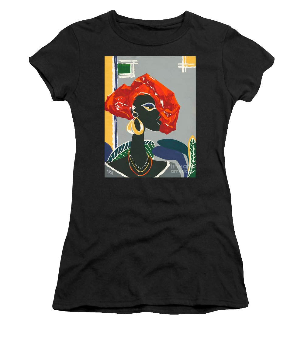 Black Women's T-Shirt (Athletic Fit) featuring the painting The Ambassador by Elisabeta Hermann