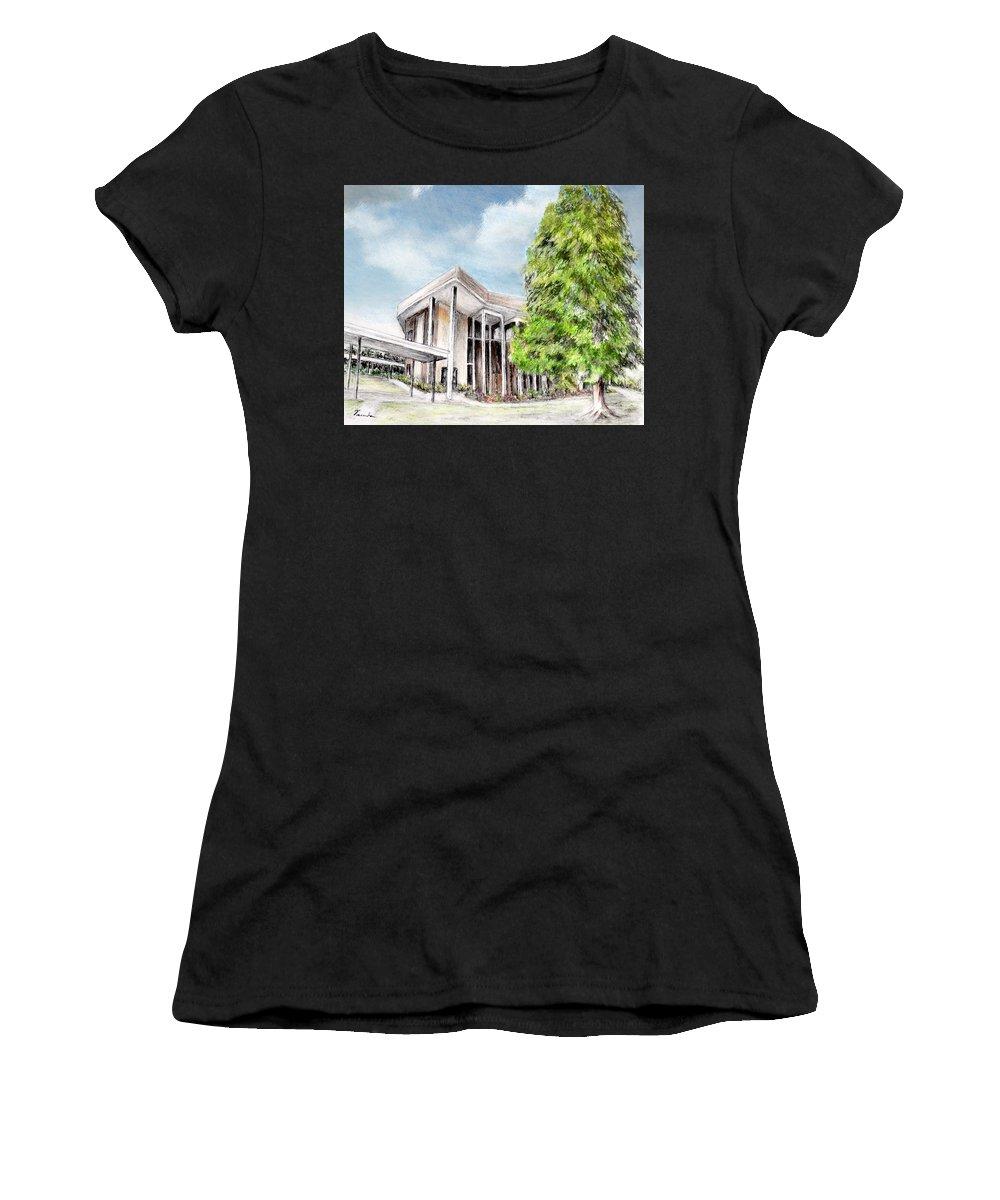 Santa Barbara Women's T-Shirt featuring the digital art The Angles Of A Modern Architecture by Danuta Bennett