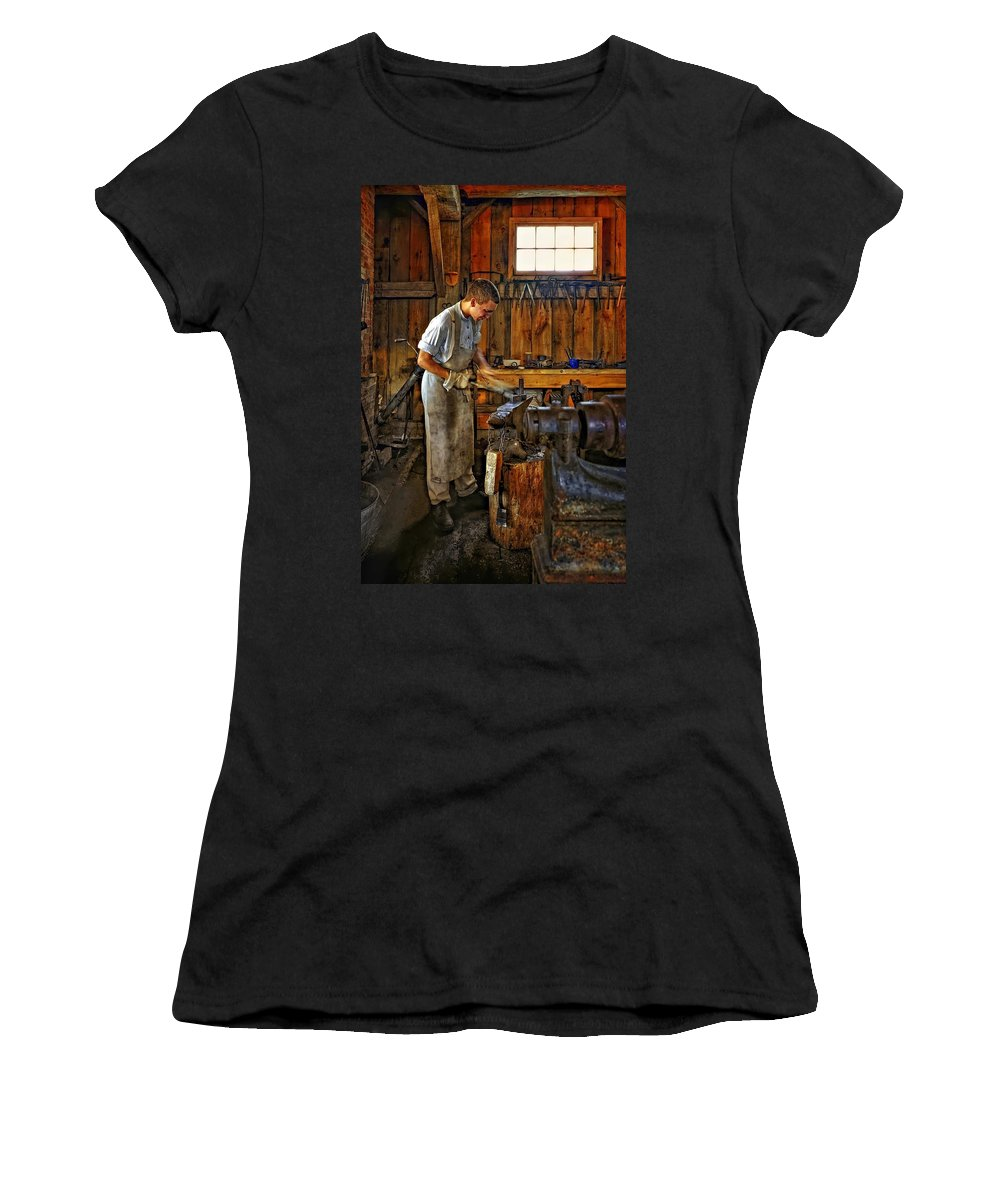 Blacksmith Women's T-Shirt (Athletic Fit) featuring the photograph The Apprentice Hdr by Steve Harrington