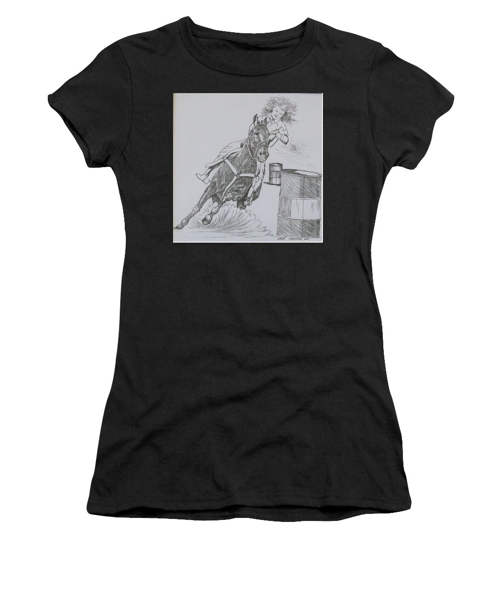Black And Grey Black Poster Women's T-Shirt (Athletic Fit) featuring the drawing The Barrel Racer by Wanda Dansereau