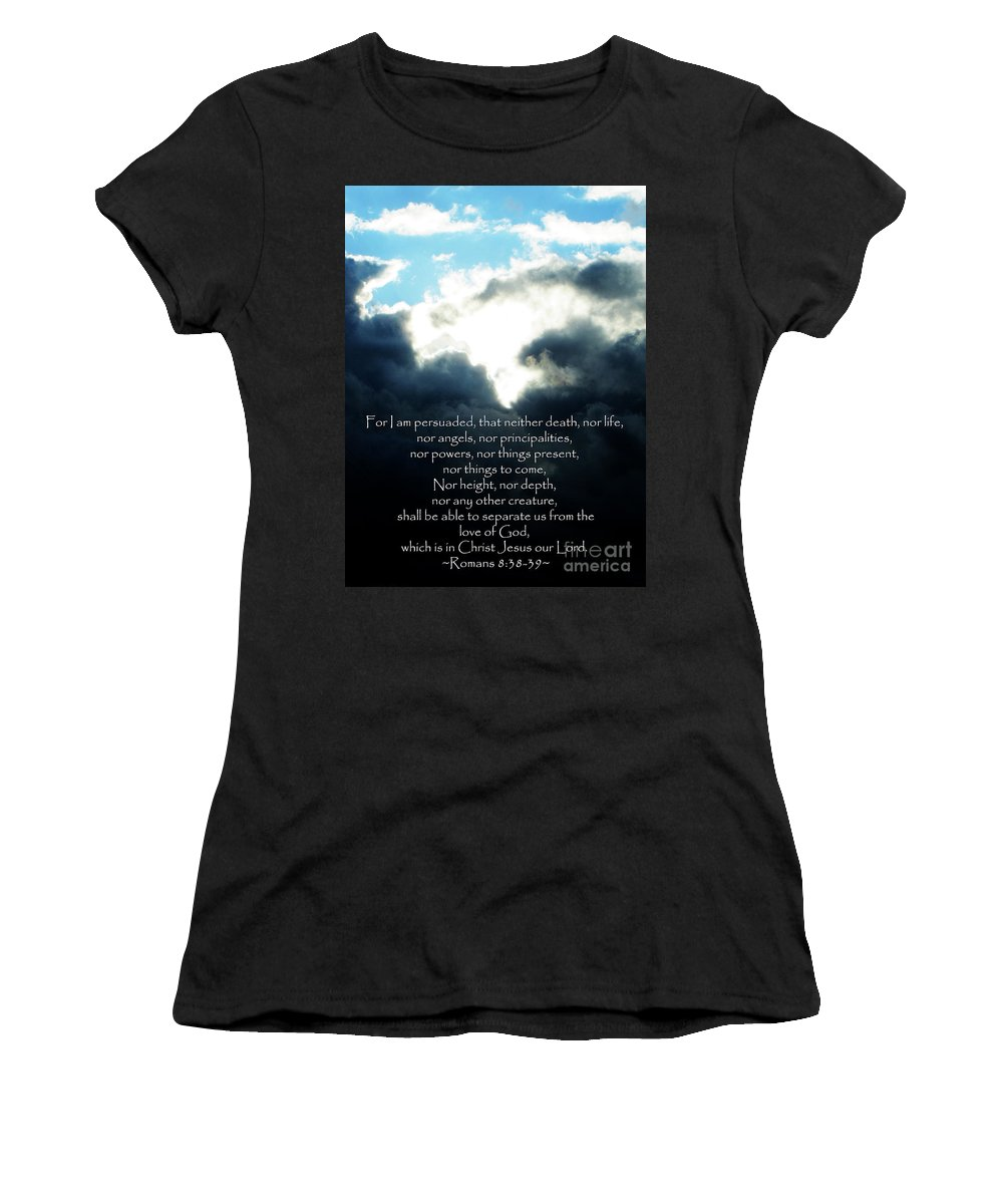 Jesus Christ Women's T-Shirt featuring the photograph The Bible Romans 8 by Ron Tackett