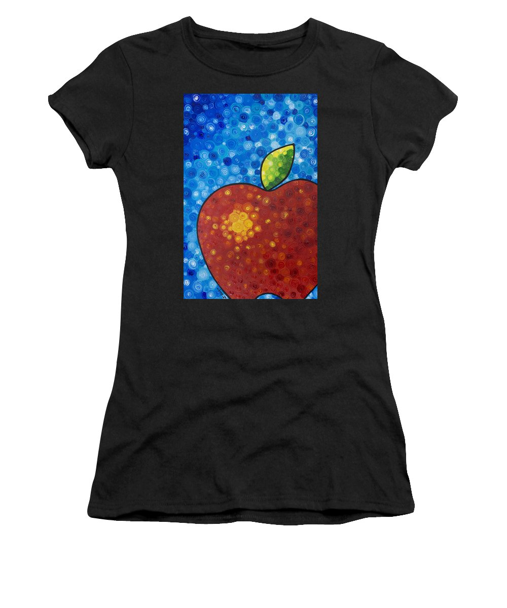 Food And Beverage Art Women's T-Shirt (Athletic Fit) featuring the painting The Big Apple - Red Apple By Sharon Cummings by Sharon Cummings