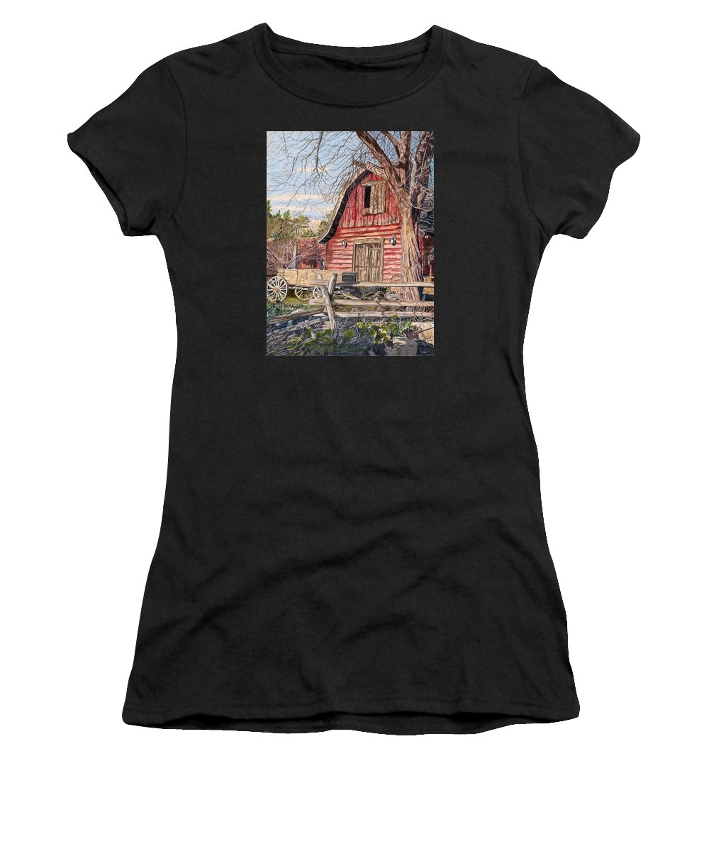 Barn Women's T-Shirt featuring the painting The Big Red Barn by Gail Seufferlein