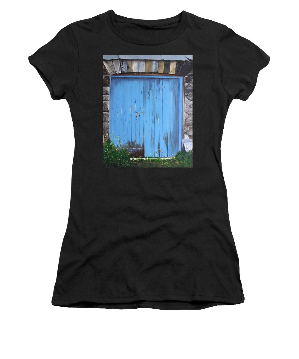 Barn Door Women's T-Shirt (Athletic Fit) featuring the painting The Blue Door by Tony Gunning
