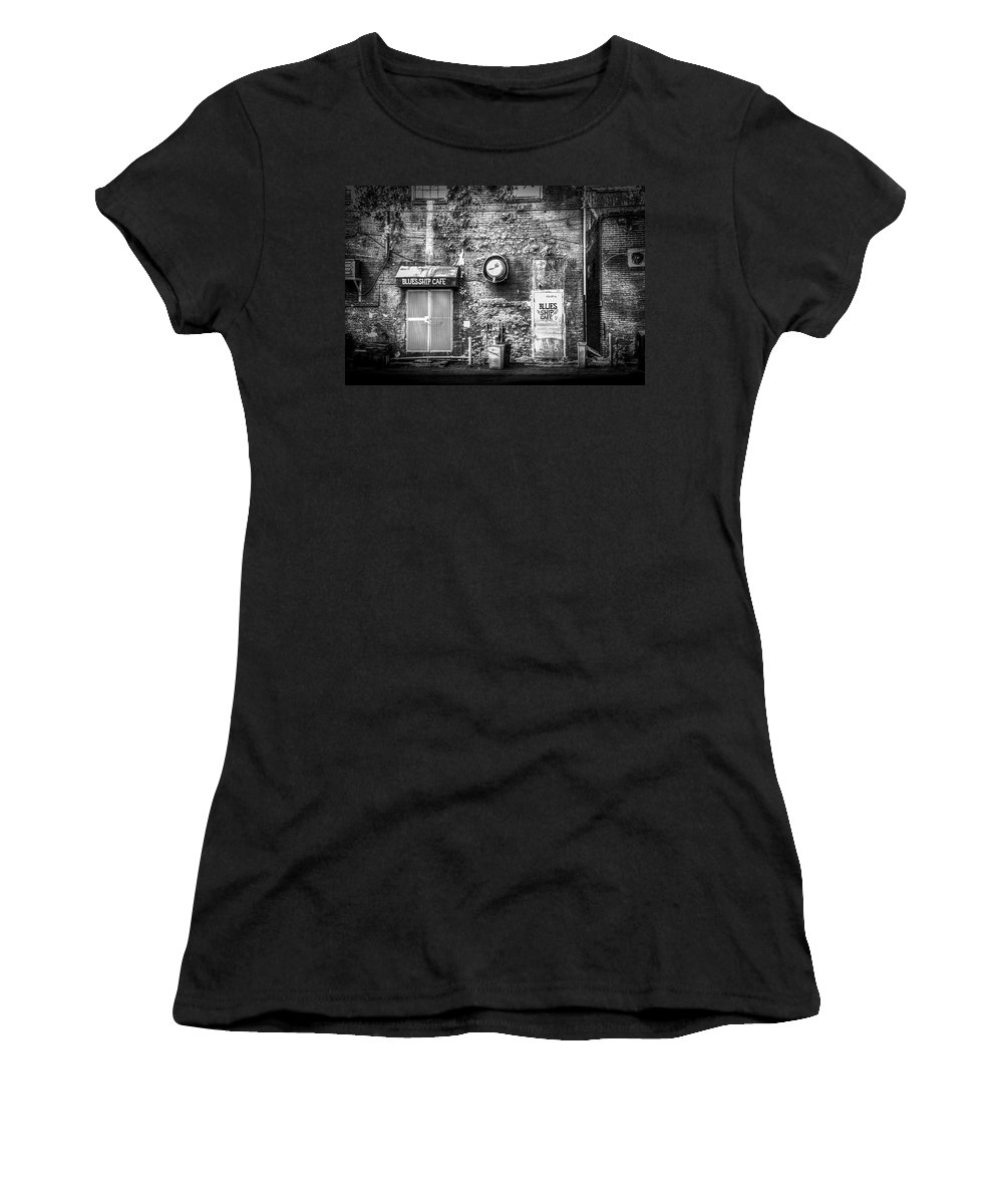 Blues Music Women's T-Shirt (Athletic Fit) featuring the photograph The Blues Ship Cafe by Marvin Spates