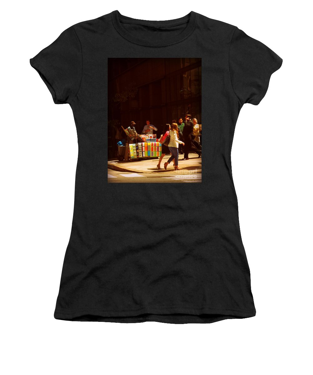 Streetscape Women's T-Shirt (Athletic Fit) featuring the photograph The Bookseller - New York City Street Scene - Street Vendor by Miriam Danar