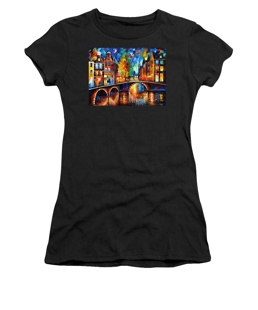 Oil Paintings Women's T-Shirt featuring the painting The Bridges Of Amsterdam - Palette Knife Oil Painting On Canvas By Leonid Afremov by Leonid Afremov
