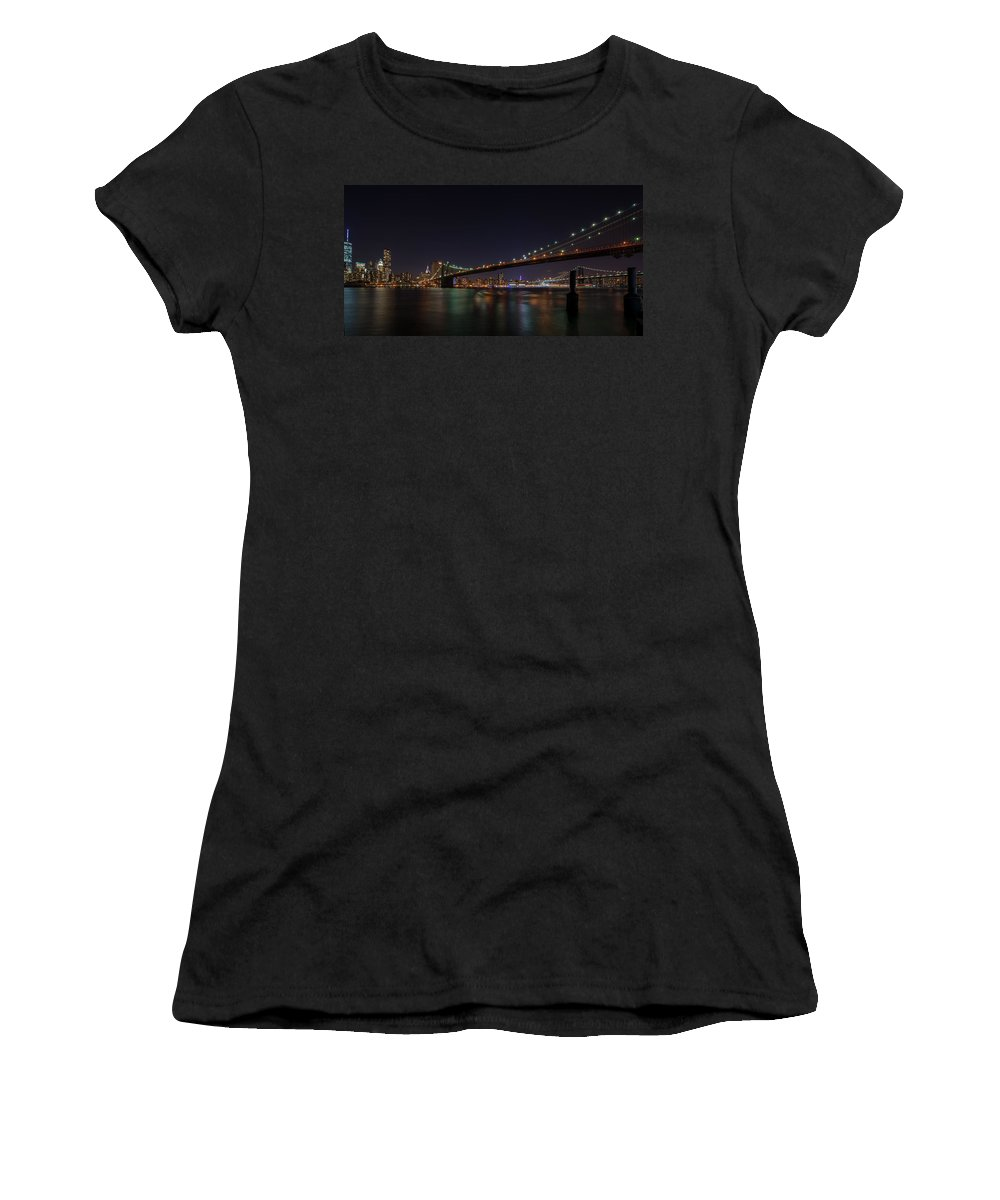 New York Women's T-Shirt (Athletic Fit) featuring the photograph The Bridges Of New York by James Gamble