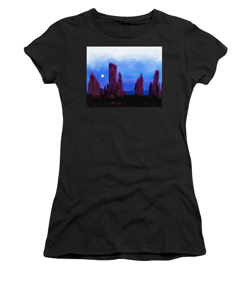 Water Women's T-Shirt featuring the digital art The Callanish Stones Scotland by Don Kuing