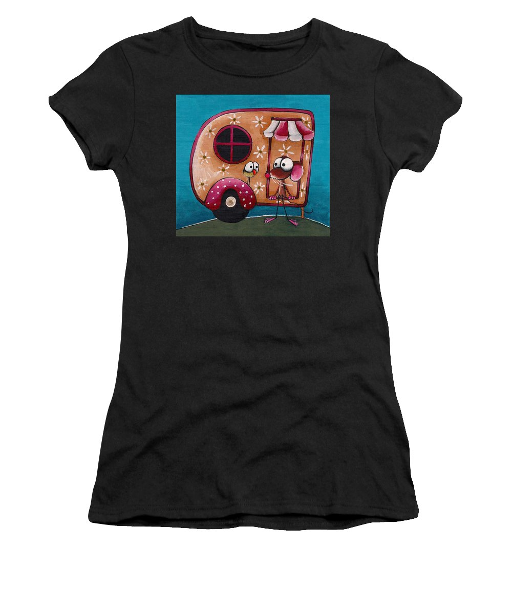 Whimsical Women's T-Shirt (Athletic Fit) featuring the painting The Camper Van by Lucia Stewart