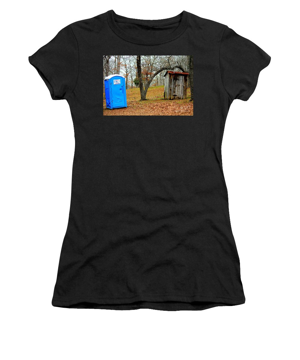 Portable Toilet Women's T-Shirt featuring the photograph The Choice Is Up To You by Kathy White