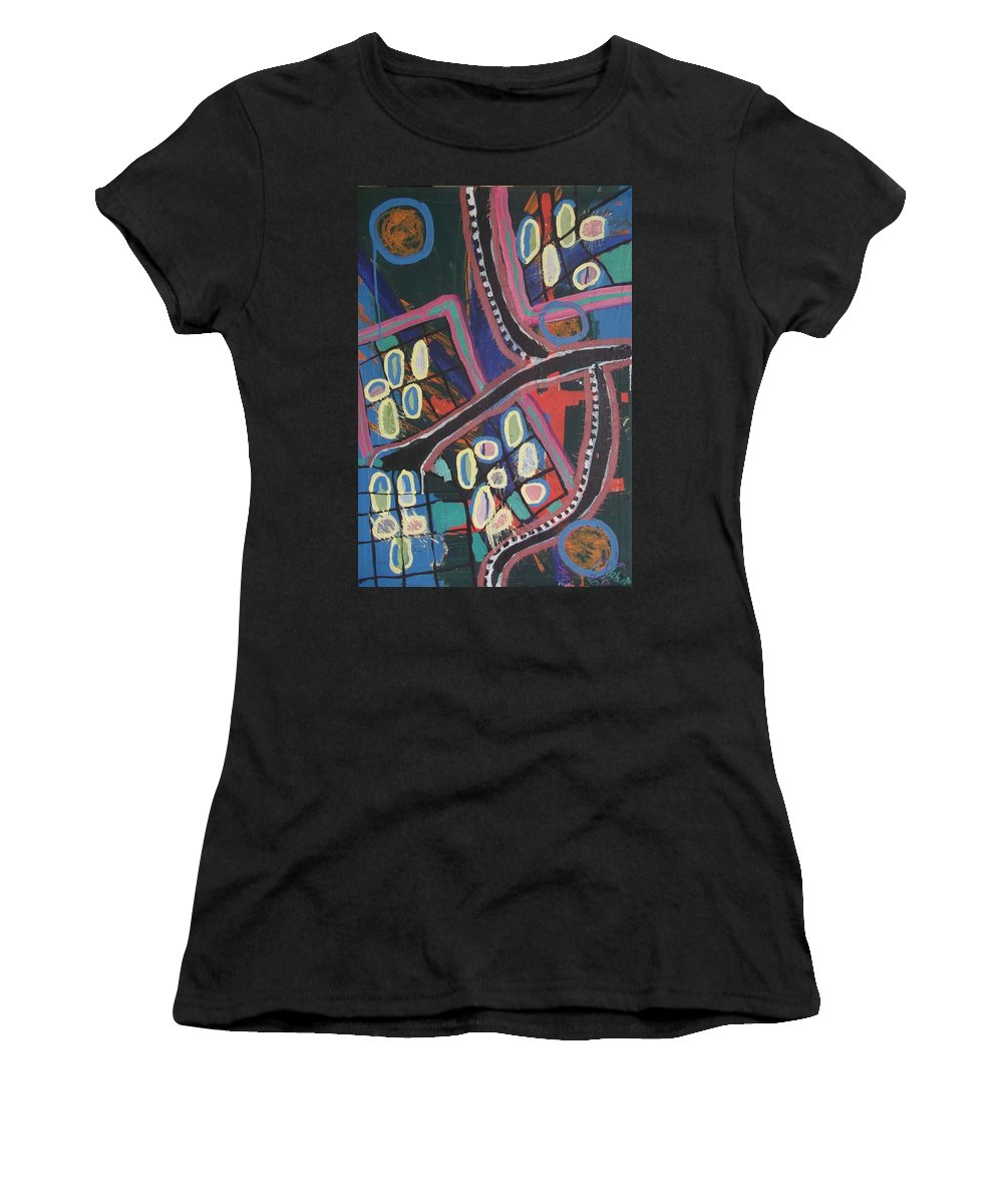 City Women's T-Shirt featuring the painting The City by Laura Vizbule