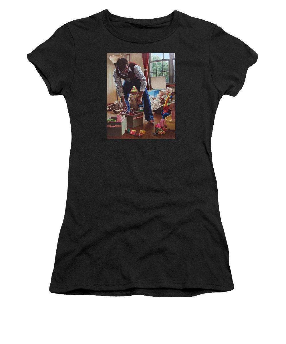 Portrait Women's T-Shirt featuring the painting The Collector by Kenneth Cobb