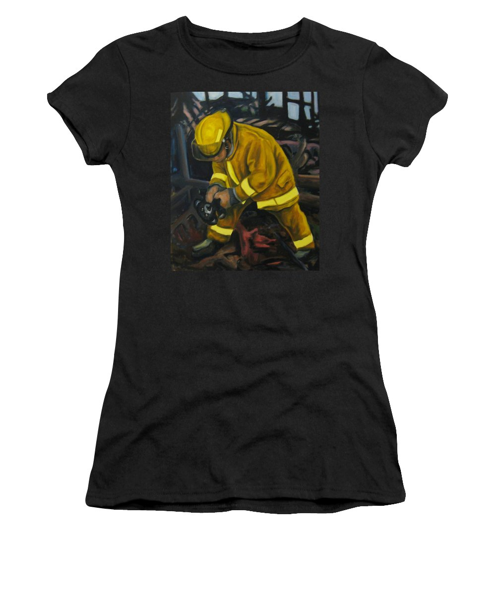 The Compulsion Towards Heroism Women's T-Shirt (Athletic Fit) featuring the painting The Compulsion Towards Heroism by John Malone
