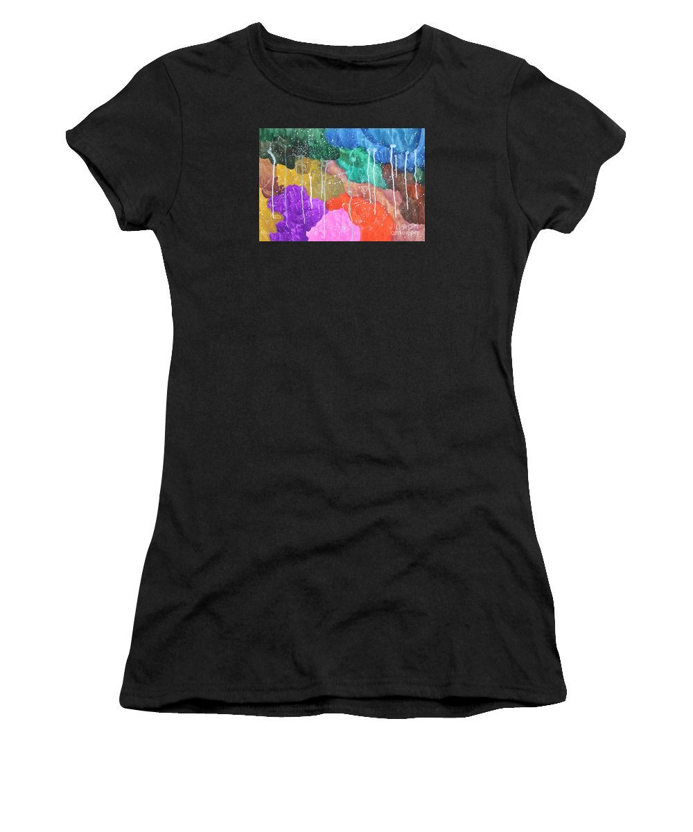 Autism Women's T-Shirt (Athletic Fit) featuring the painting 2012 The Curtain Of The Sky 02 by Danny S Y Lee