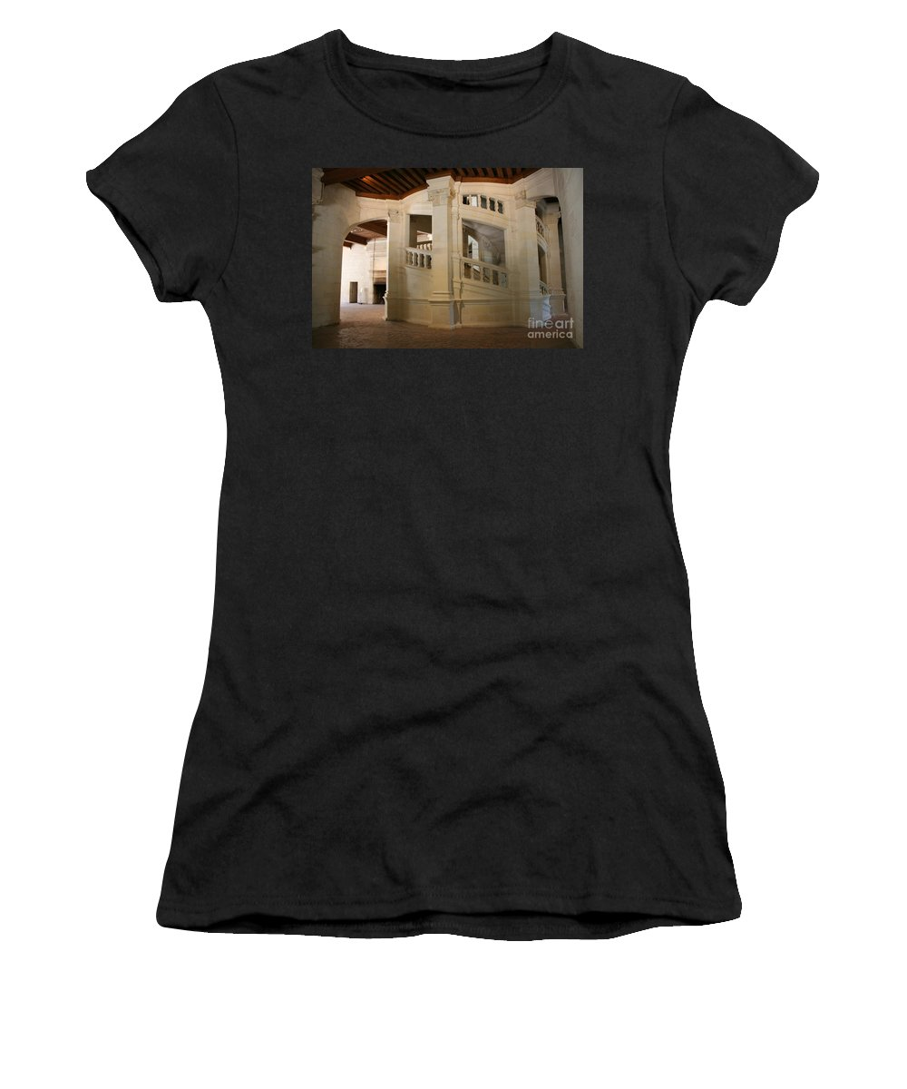 Staircase Women's T-Shirt featuring the photograph The Double-helix Staircase Chateau Chambord - France by Christiane Schulze Art And Photography