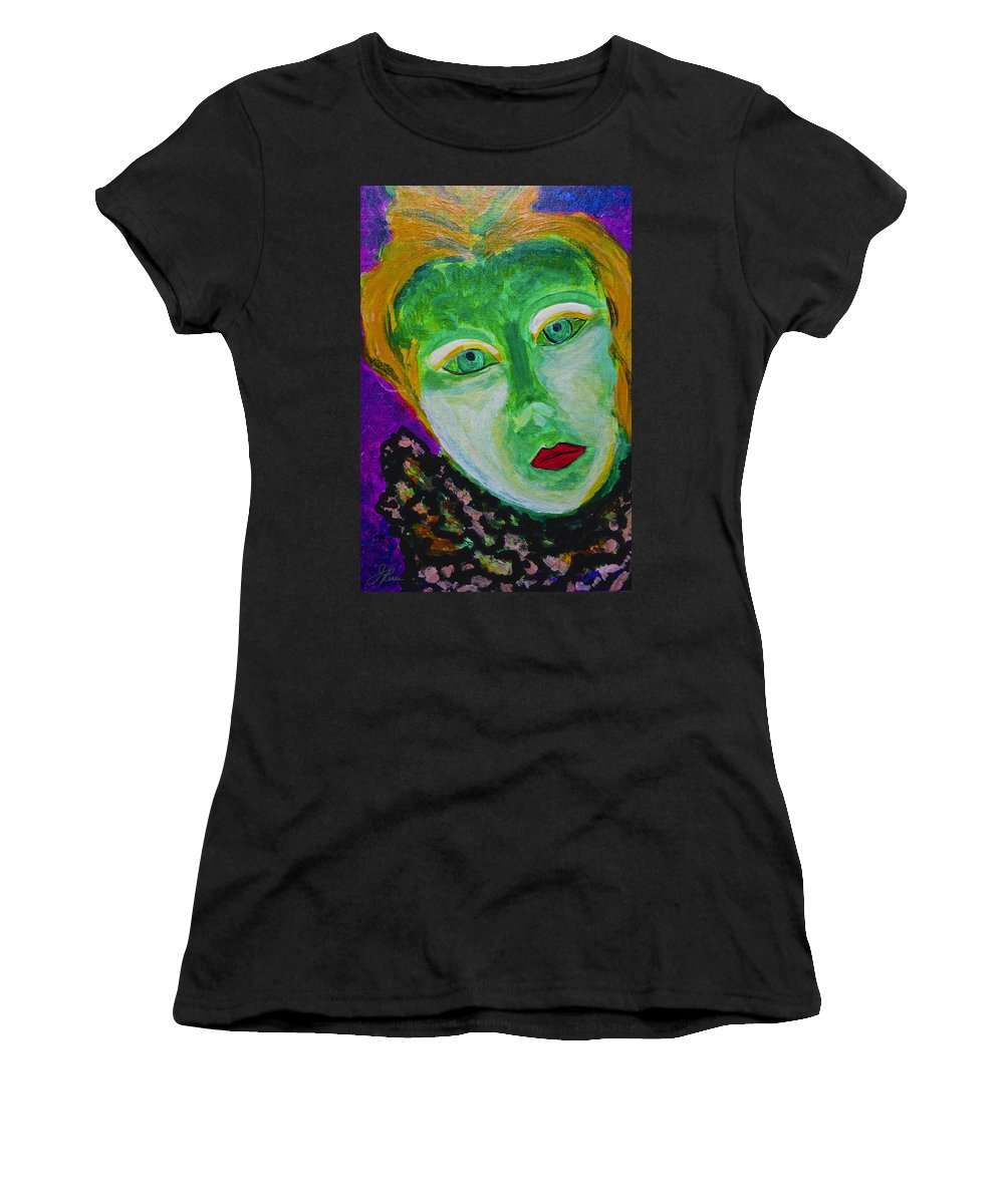 Acrylic Painting On Canvas Board Women's T-Shirt featuring the painting The Emerald Lady by Joan Reese