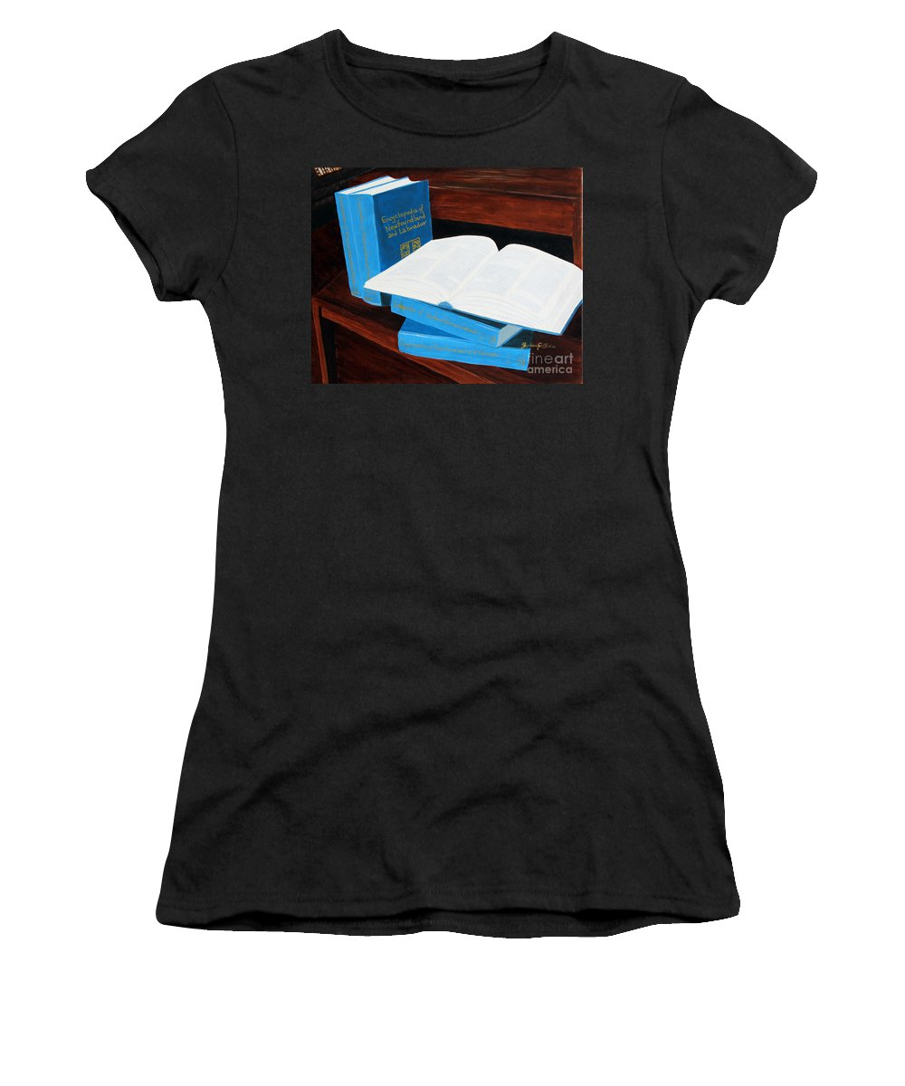 Barbara Griffin Women's T-Shirt featuring the painting The Encyclopedia Of Newfoundland And Labrador - Joeys Books by Barbara Griffin
