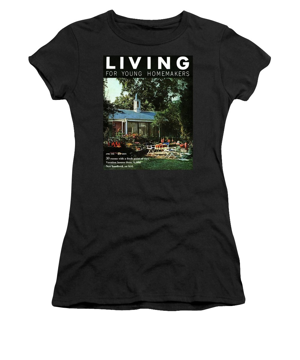 Furniture Women's T-Shirt featuring the digital art The Exterior Of A House And Patio Furniture by Nowell Ward