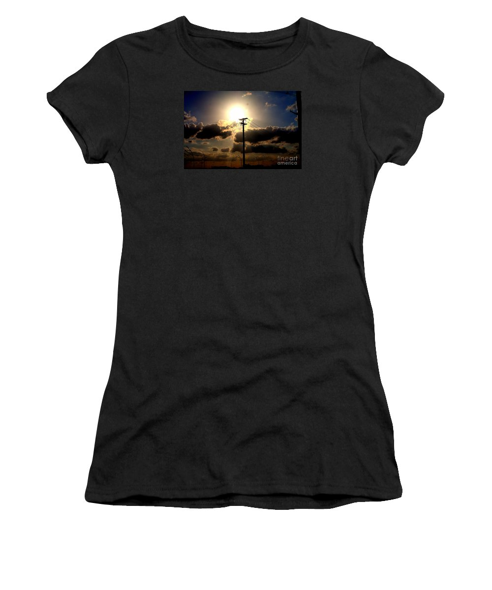 Sunset Landscapes Women's T-Shirt featuring the photograph The Eye Of The Evening Sun by Diana Mary Sharpton