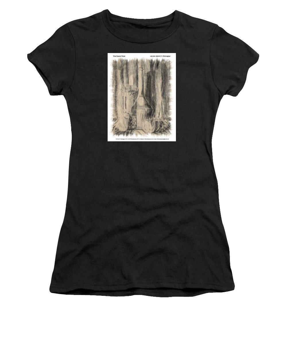 Wine Bottle Women's T-Shirt (Athletic Fit) featuring the drawing The Family Pose by Kevin Montague