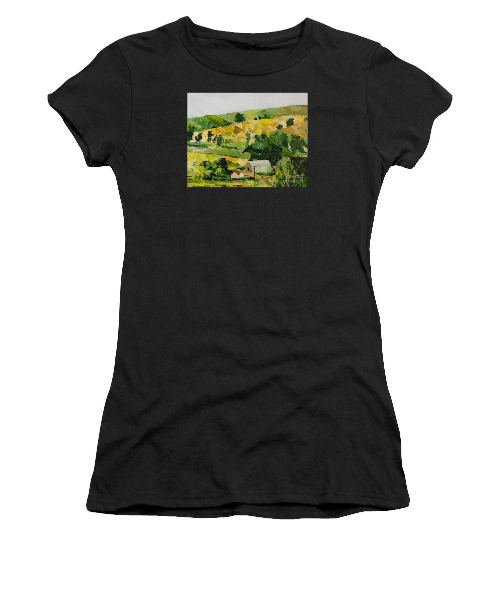 Landscape Women's T-Shirt (Athletic Fit) featuring the painting The Farm by Allan P Friedlander