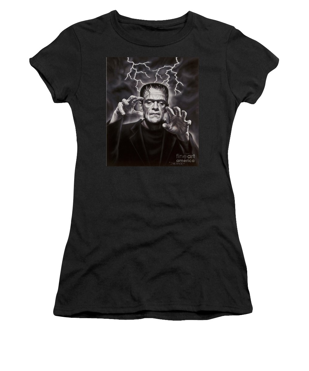 Portrait Women's T-Shirt (Athletic Fit) featuring the painting The Frankenstein Monster by Dick Bobnick
