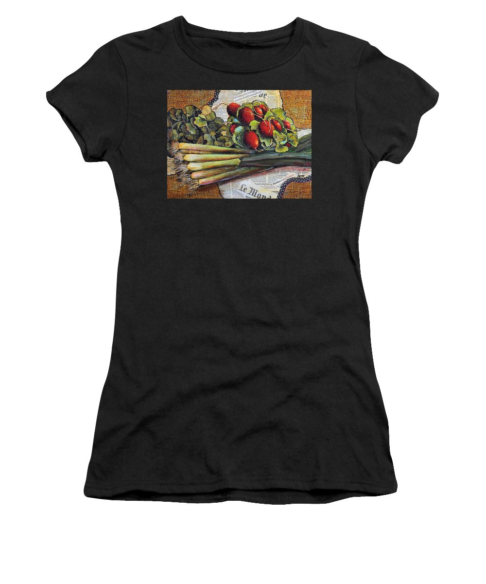 Jaxine Cummins Women's T-Shirt (Athletic Fit) featuring the mixed media The French Cook by JAXINE Cummins