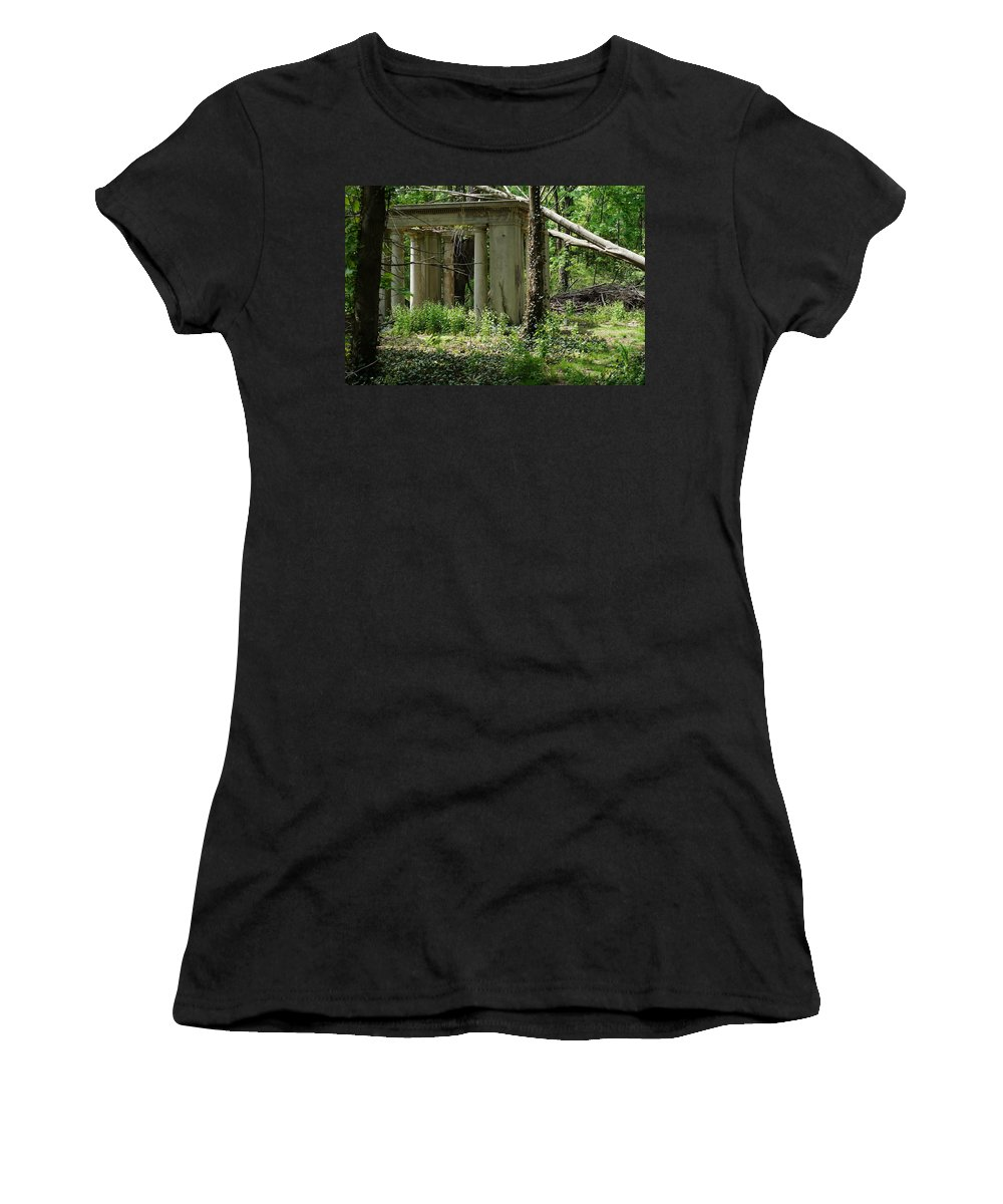 Gazebo Women's T-Shirt featuring the photograph The Gazebo In The Woods by John Wall