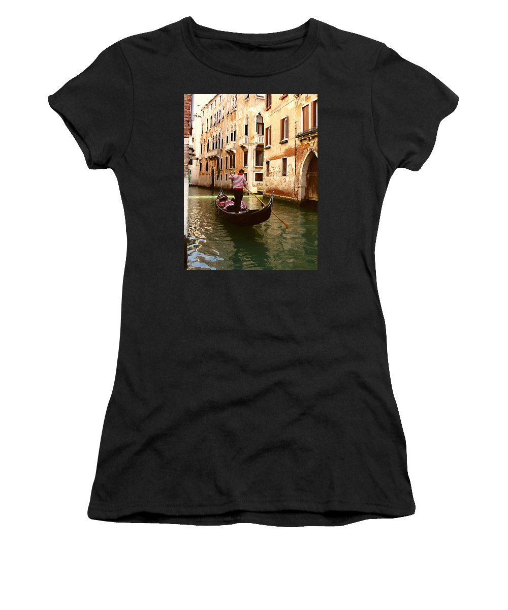 The Gondolier Women's T-Shirt (Athletic Fit) featuring the photograph The Gondolier by Ellen Henneke