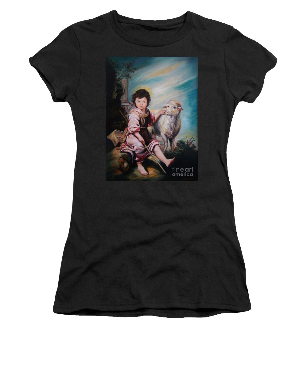 Classic Art Women's T-Shirt (Athletic Fit) featuring the painting The Good Shepherd by Silvana Abel