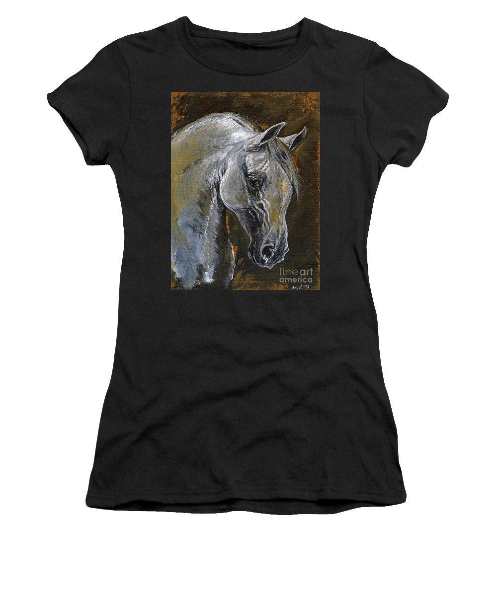 Grey Horse Women's T-Shirt featuring the painting The Grey Arabian Horse Oil Painting by Angel Ciesniarska