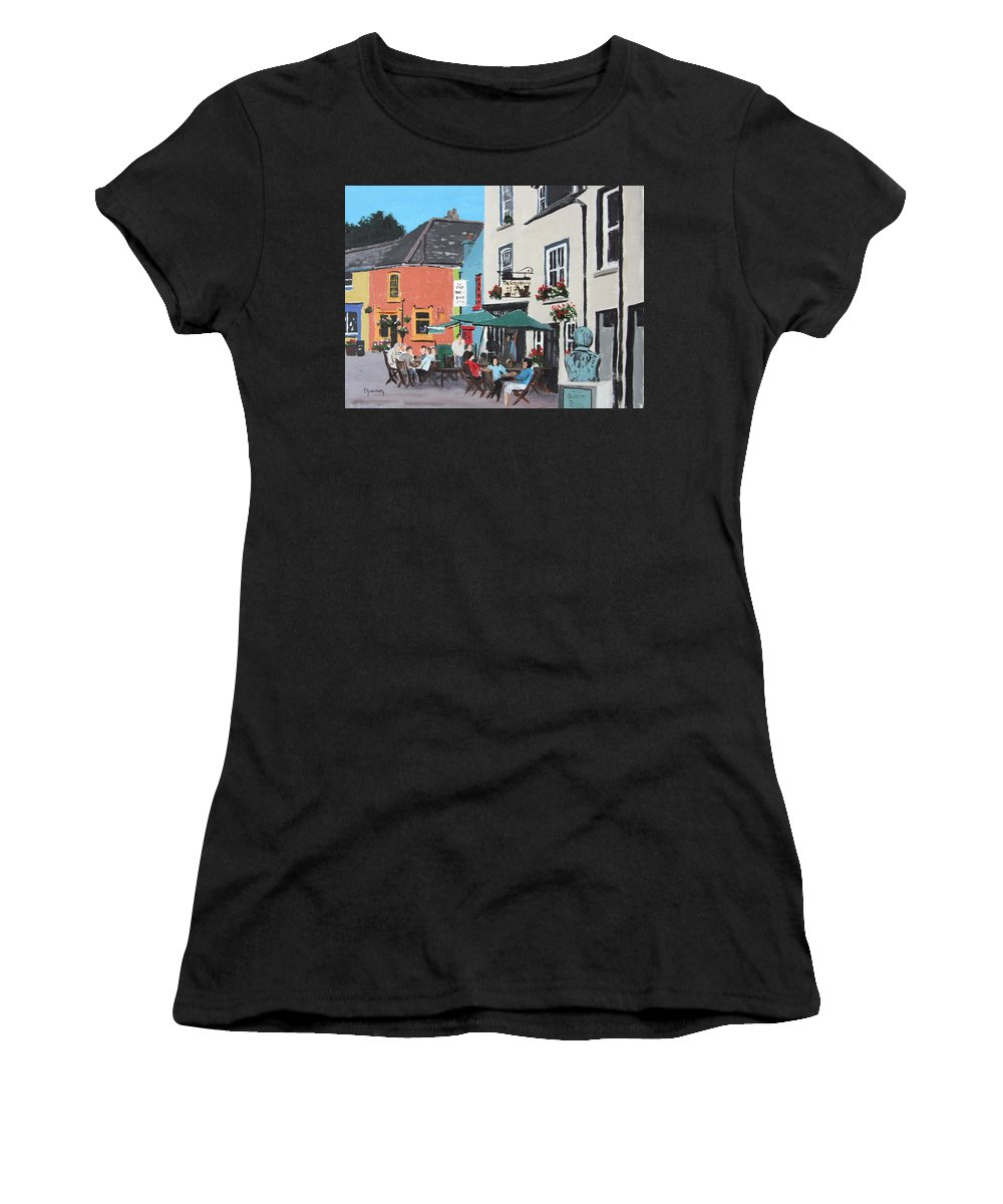 Kinsale Women's T-Shirt (Athletic Fit) featuring the painting The Greyhound Bar Kinsale by Tony Gunning