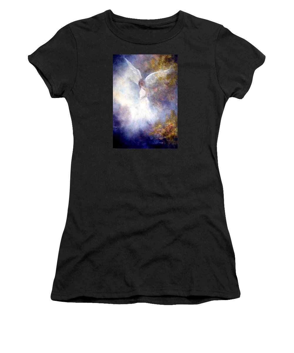 Angel Women's T-Shirt (Athletic Fit) featuring the painting The Guardian by Marina Petro